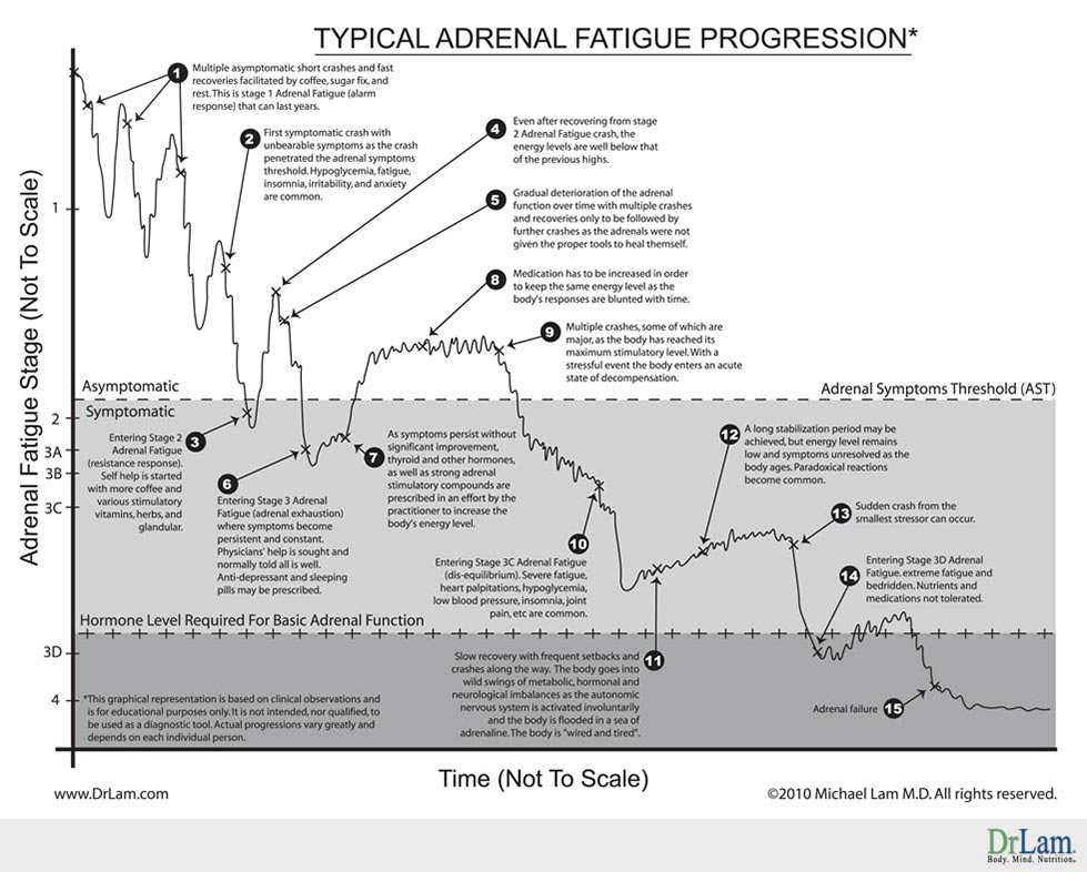 A graph showing the progression of adrenal fatigue crash in a typical fashion