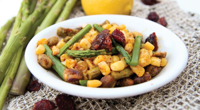 Maple Chipotle Corn and Asparagus Salad